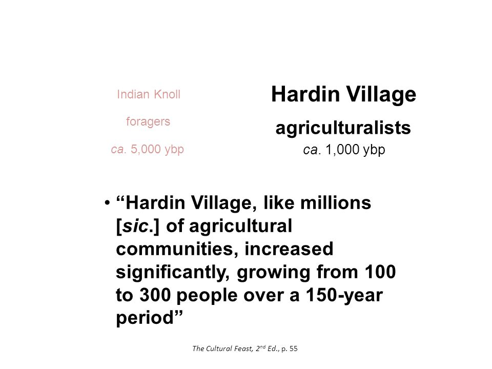 Hardin Village Hardin Village, like millions [sic.] of agricultural communities, increased significantly, growing from 100 to 300 people over a 150-year period agriculturalists ca.