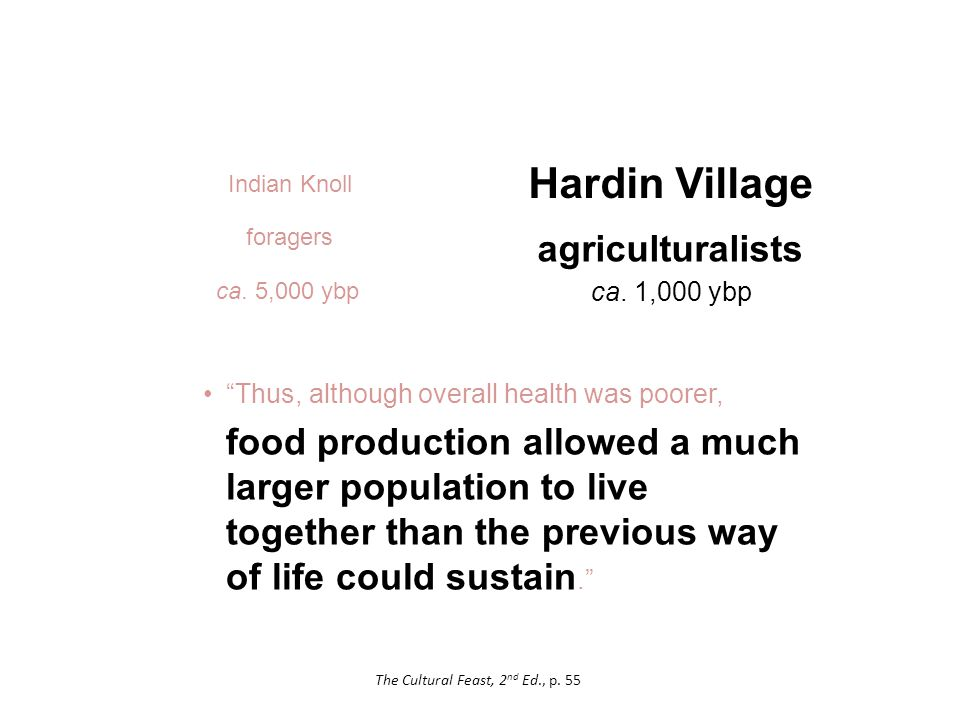Hardin Village Thus, although overall health was poorer, food production allowed a much larger population to live together than the previous way of life could sustain. agriculturalists ca.
