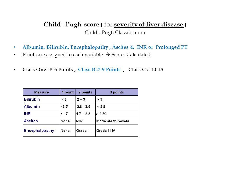 Child - Pugh score ( for severity of liver disease ) Child - Pugh Classification Albumin, Bilirubin, Encephalopathy, Ascites & INR or Prolonged PT Poi