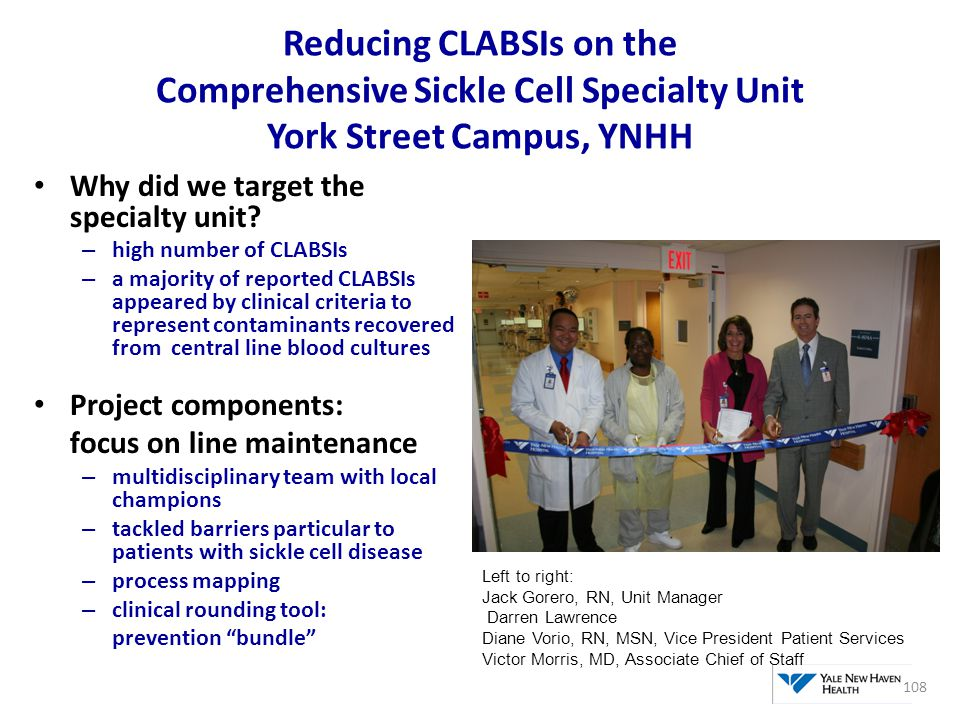 Reducing CLABSIs on the Comprehensive Sickle Cell Specialty Unit York Street Campus, YNHH Why did we target the specialty unit? – high number of CLABS