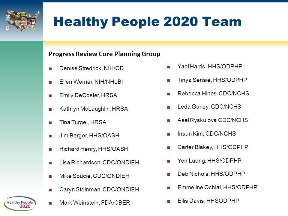 Healthy People 2020 Team Progress Review Core Planning Group ■Denise Stredrick, NIH/OD ■Ellen Werner, NIH/NHLBI ■Emily DeCoster, HRSA ■Kathryn McLaugh