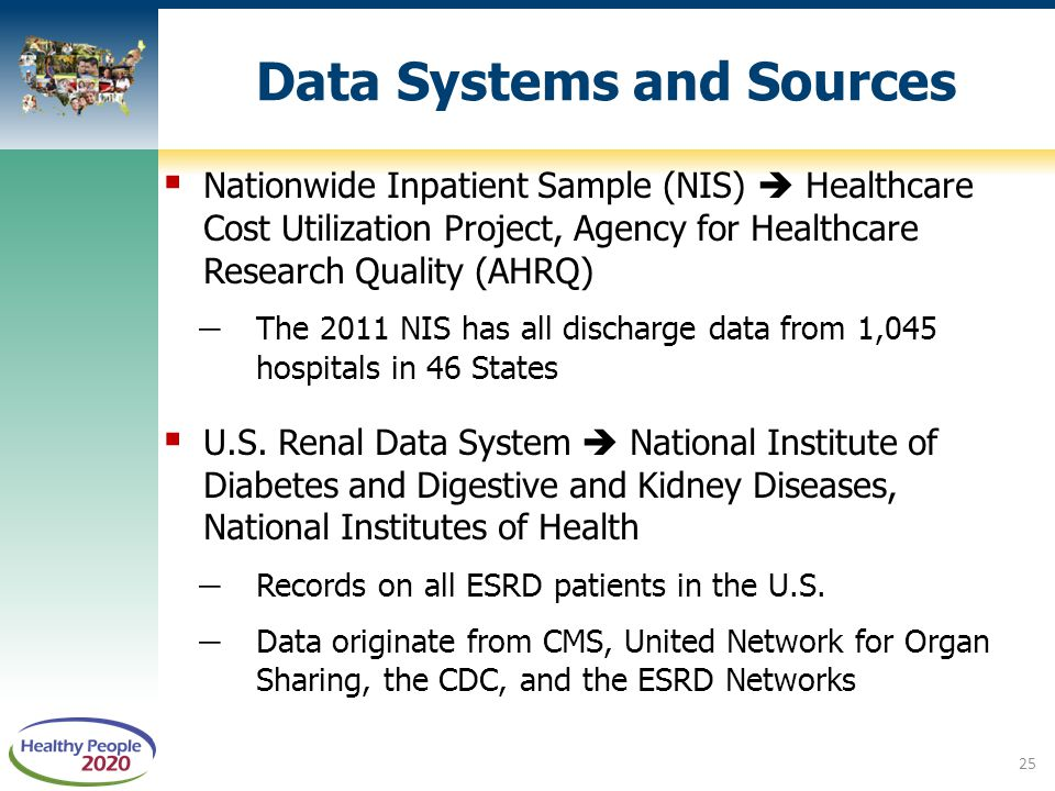  Nationwide Inpatient Sample (NIS)  Healthcare Cost Utilization Project, Agency for Healthcare Research Quality (AHRQ) ̶ The 2011 NIS has all discha