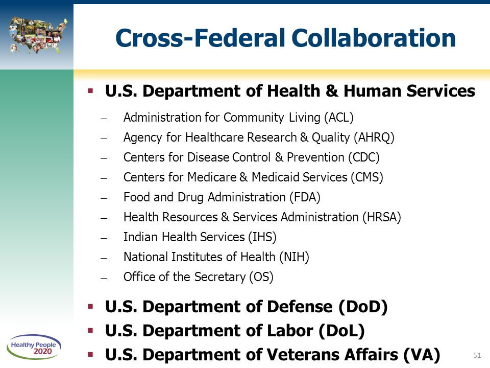 Cross-Federal Collaboration  U.S. Department of Health & Human Services ̶Administration for Community Living (ACL) ̶Agency for Healthcare Research &
