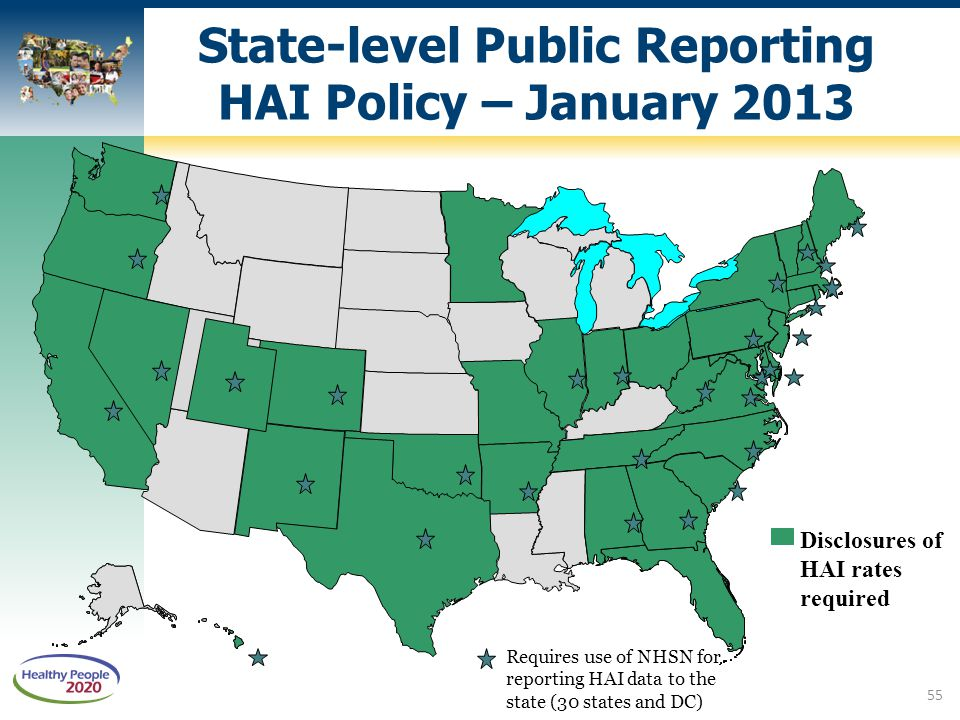 State-level Public Reporting HAI Policy – January 2013 Disclosures of HAI rates required DC* Requires use of NHSN for reporting HAI data to the state