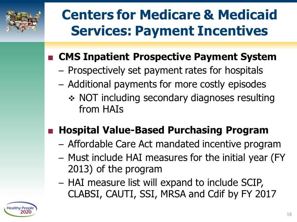 Centers for Medicare & Medicaid Services: Payment Incentives ■ CMS Inpatient Prospective Payment System – Prospectively set payment rates for hospital