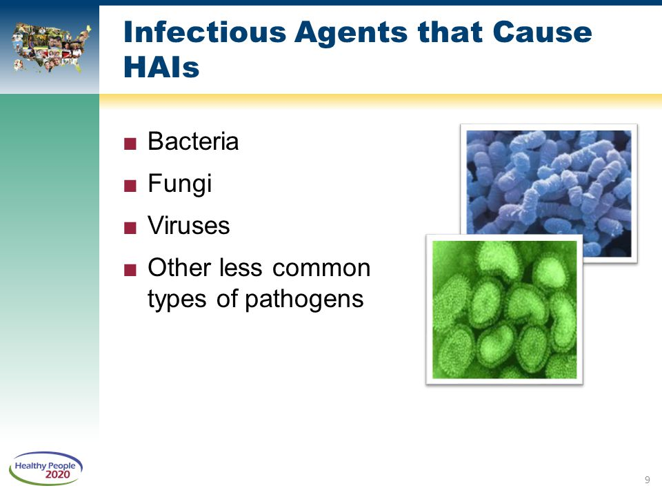 Infectious Agents that Cause HAIs ■Bacteria ■Fungi ■Viruses ■Other less common types of pathogens 9