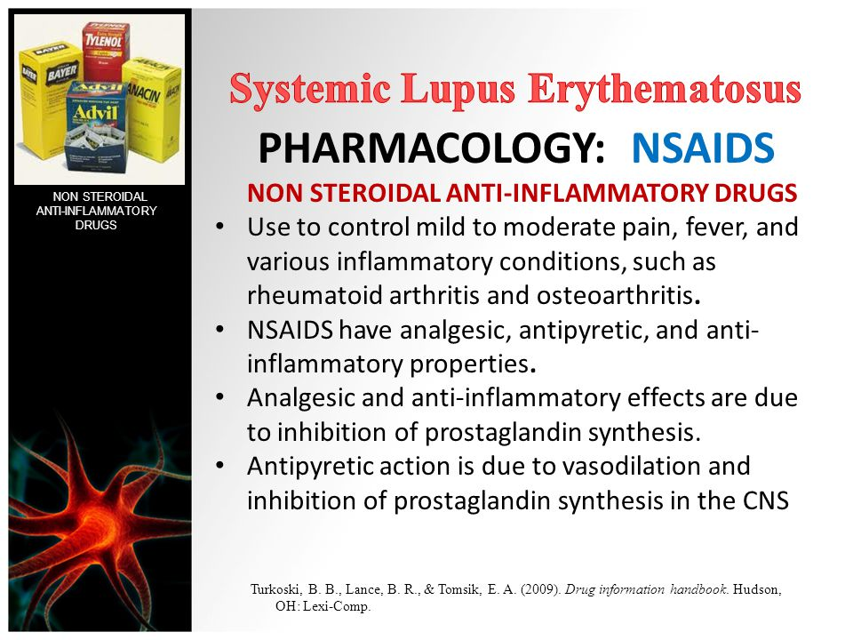 PHARMACOLOGY: NSAIDS NON STEROIDAL ANTI-INFLAMMATORY DRUGS Use to control mild to moderate pain, fever, and various inflammatory conditions, such as r