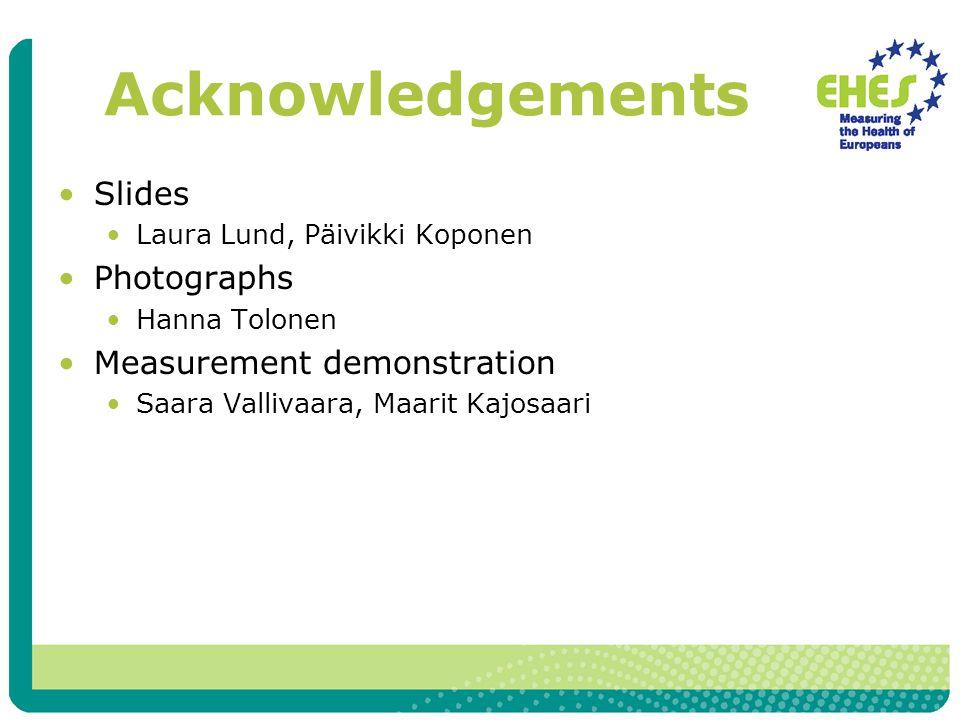 Acknowledgements Slides Laura Lund, Päivikki Koponen Photographs Hanna Tolonen Measurement demonstration Saara Vallivaara, Maarit Kajosaari