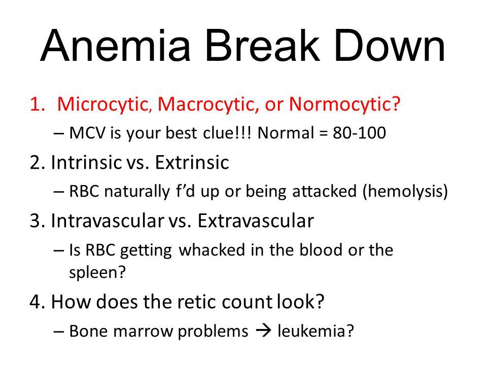Microcytic: Heme Synth (MCV < 80) Fe deficiency vs.
