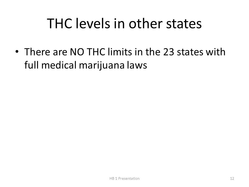 THC levels in other states There are NO THC limits in the 23 states with full medical marijuana laws 12HB 1 Presentation