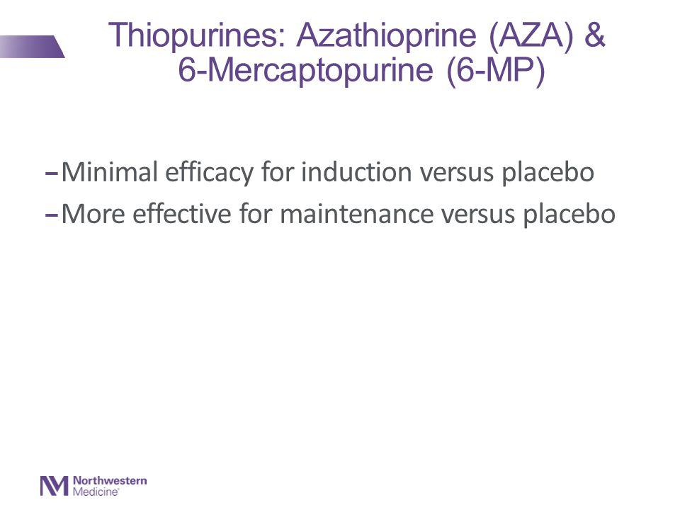 Thiopurines: Azathioprine (AZA) & 6-Mercaptopurine (6-MP) – Minimal efficacy for induction versus placebo – More effective for maintenance versus placebo