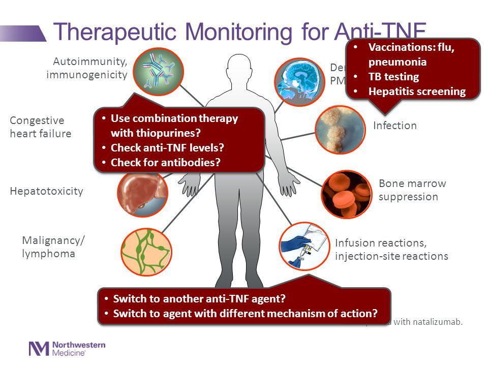 Therapeutic Monitoring for Anti-TNF Congestive heart failure Autoimmunity, immunogenicity Demyelinating disease, PML* Infection Malignancy/ lymphoma I