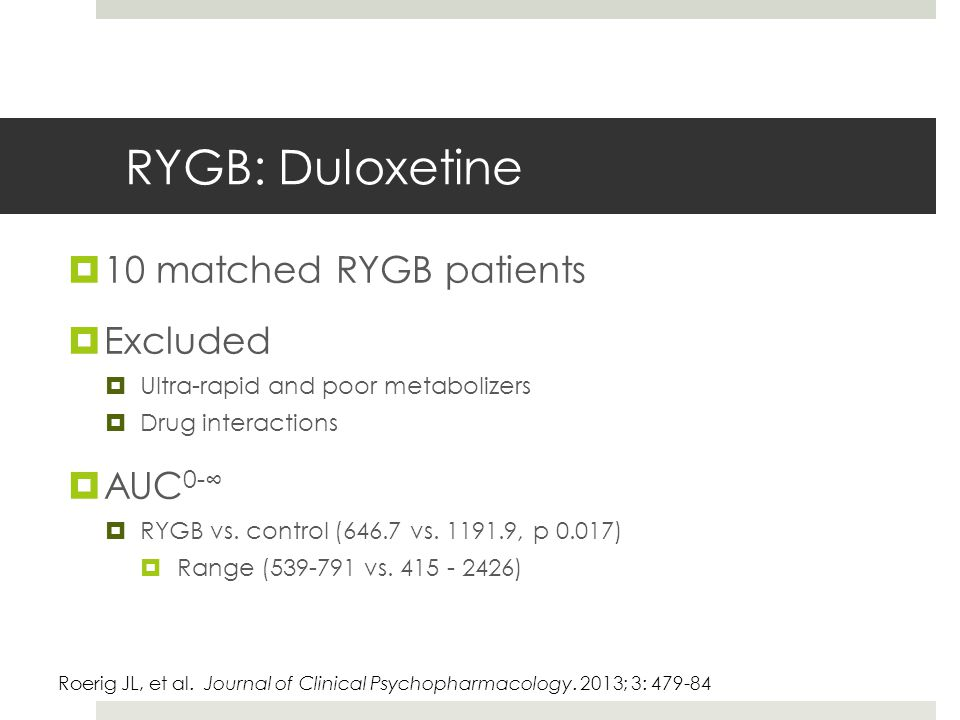 RYGB: Duloxetine  10 matched RYGB patients  Excluded  Ultra-rapid and poor metabolizers  Drug interactions  AUC 0-∞  RYGB vs.
