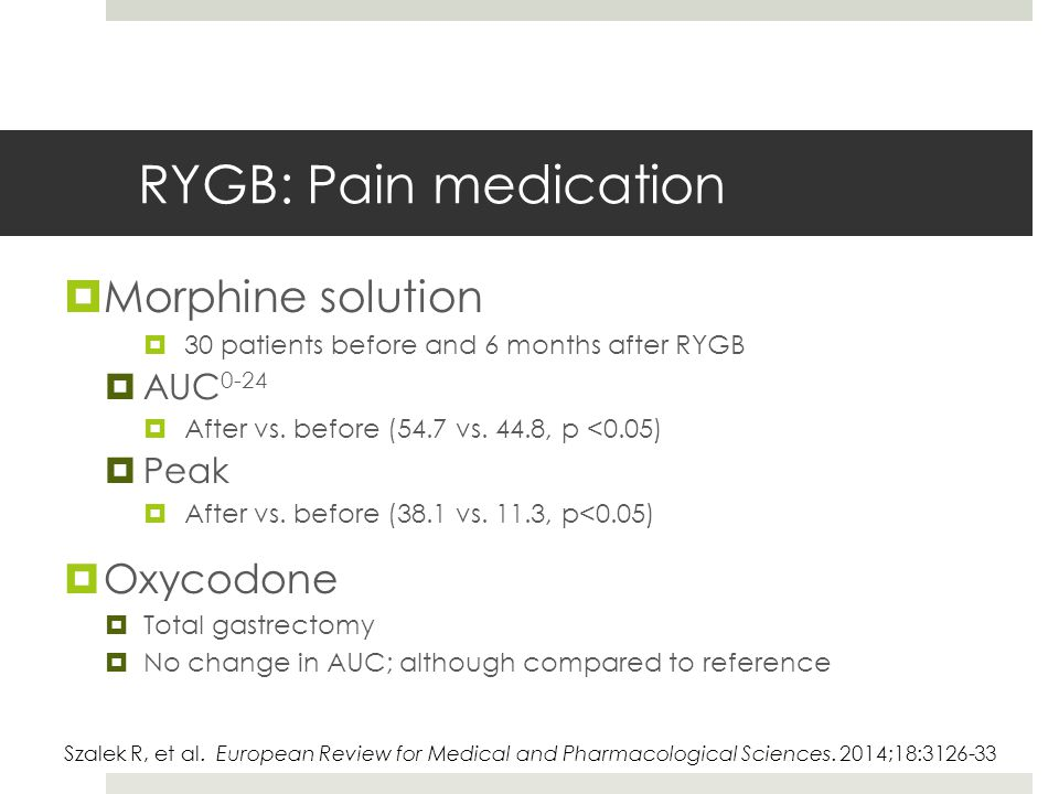 RYGB: Pain medication  Morphine solution  30 patients before and 6 months after RYGB  AUC 0-24  After vs.
