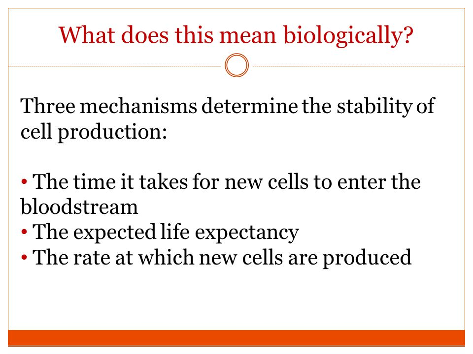 What does this mean biologically? Three mechanisms determine the stability of cell production: The time it takes for new cells to enter the bloodstrea