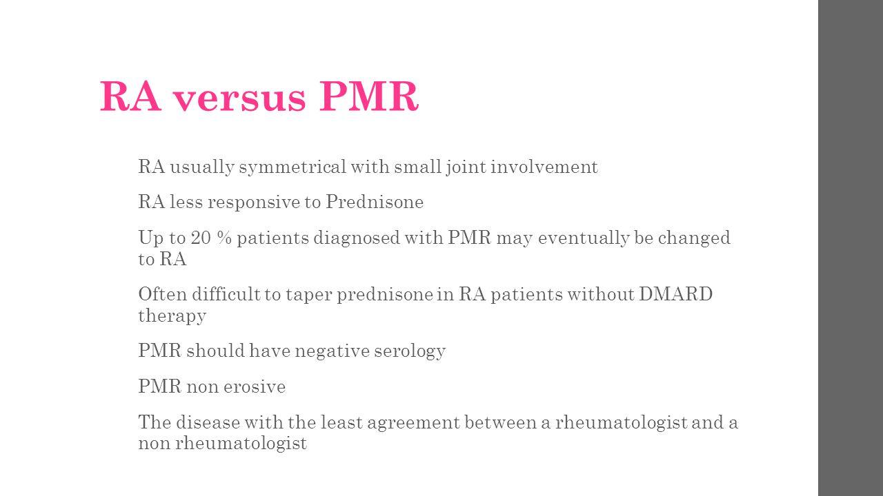 PMR versus Fibromyalgia 20 year olds don t get PMR No true EMS/ gel phenomenon i.e.