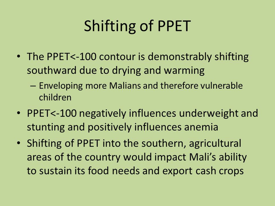 Shifting of PPET The PPET<-100 contour is demonstrably shifting southward due to drying and warming – Enveloping more Malians and therefore vulnerable