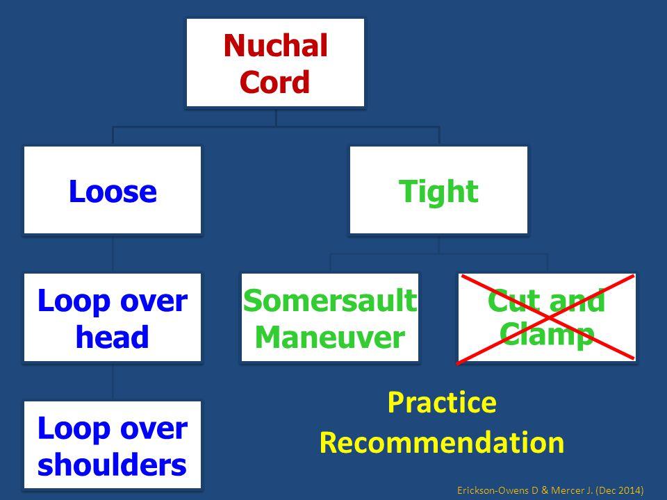 Nuchal Cord Loose Loop over head Loop over shoulders Tight Somersault Maneuver Cut and Clamp Practice Recommendation Erickson-Owens D & Mercer J. (Dec