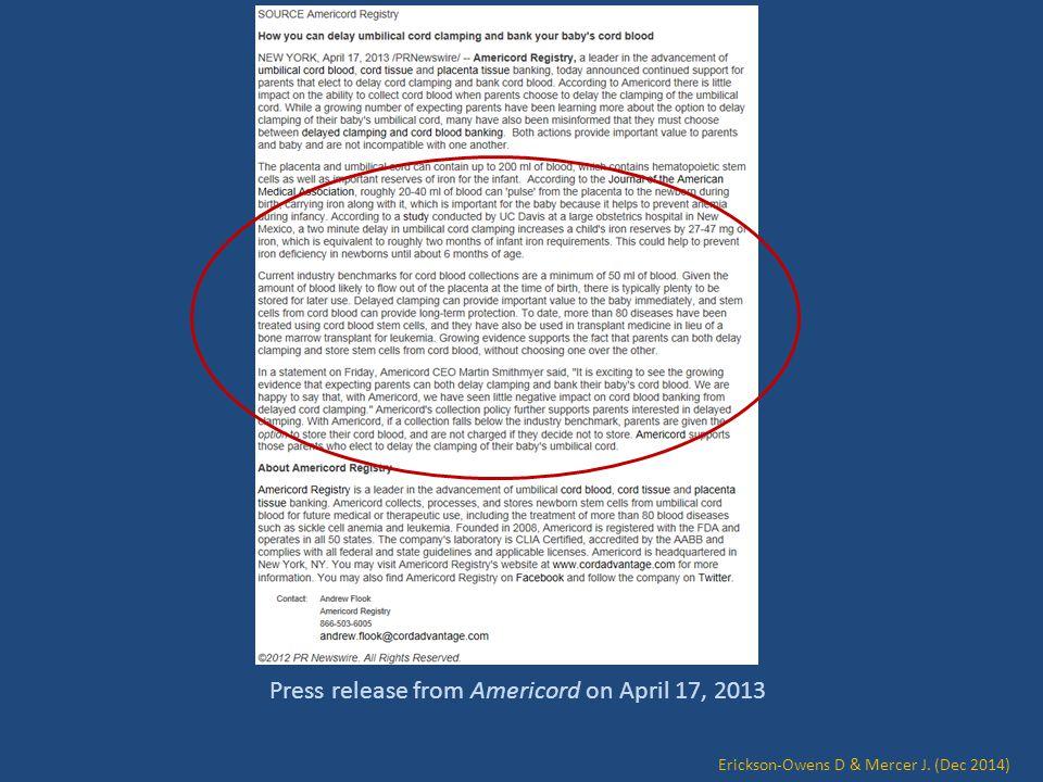 Press release from Americord on April 17, 2013 Erickson-Owens D & Mercer J. (Dec 2014)