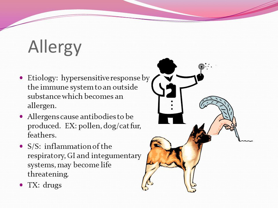 Allergy Etiology: hypersensitive response by the immune system to an outside substance which becomes an allergen.