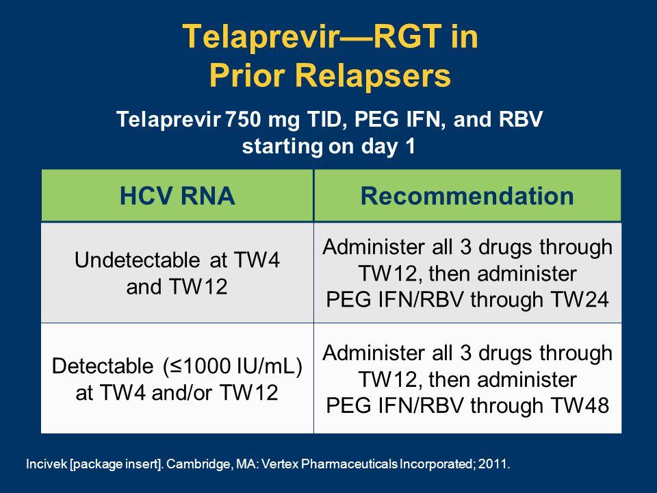 Telaprevir—RGT in Prior Relapsers Telaprevir 750 mg TID, PEG IFN, and RBV starting on day 1 Incivek [package insert].