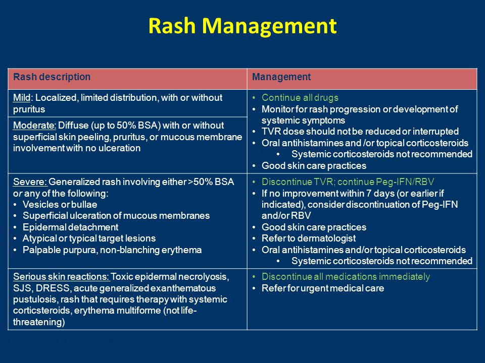 Rash Management Rash descriptionManagement Mild: Localized, limited distribution, with or without pruritus Continue all drugs Monitor for rash progres