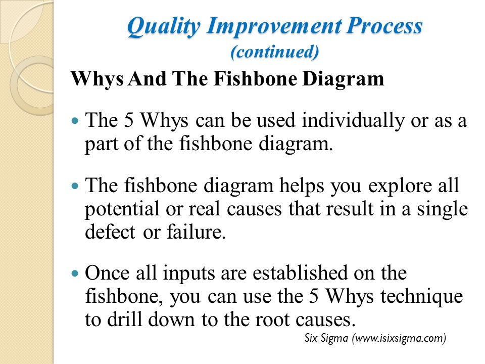 Quality Improvement Process (continued) Whys And The Fishbone Diagram The 5 Whys can be used individually or as a part of the fishbone diagram. The fi