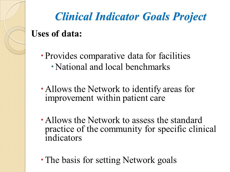 Clinical Indicator Goals Project Uses of data:  Provides comparative data for facilities  National and local benchmarks  Allows the Network to iden