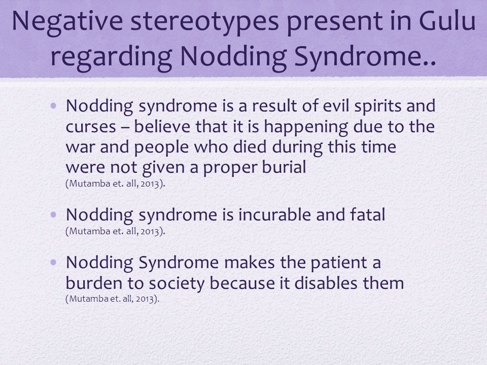 Negative stereotypes present in Gulu regarding Nodding Syndrome..