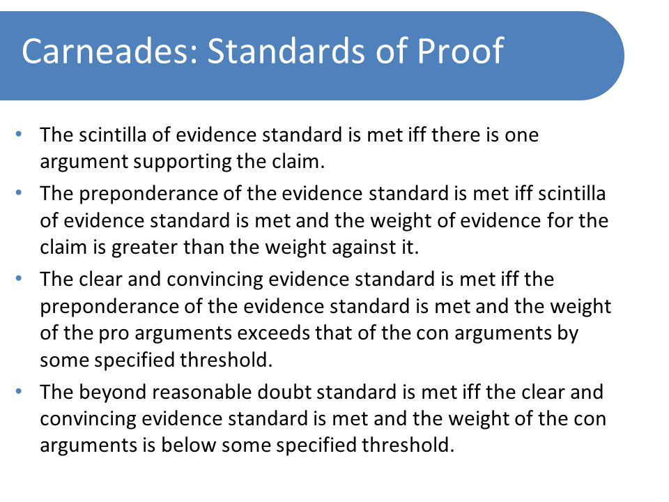 Carneades: Standards of Proof The scintilla of evidence standard is met iff there is one argument supporting the claim.