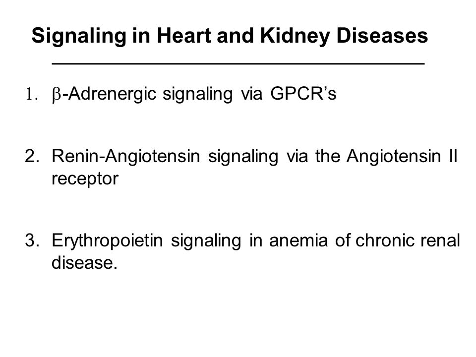 Signaling in Heart and Kidney Diseases  -Adrenergic signaling via GPCR's 2.Renin-Angiotensin signaling via the Angiotensin II receptor 3.Erythropoietin signaling in anemia of chronic renal disease.