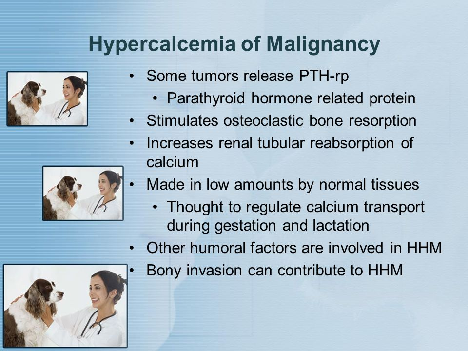 Hypercalcemia of Malignancy Some tumors release PTH-rp Parathyroid hormone related protein Stimulates osteoclastic bone resorption Increases renal tub