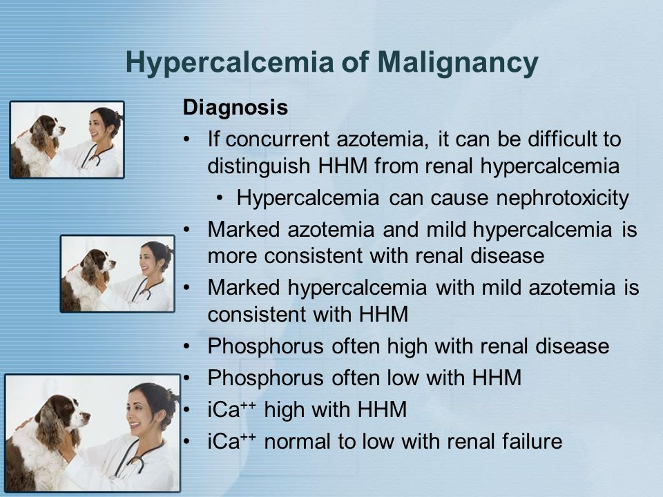 Hypercalcemia of Malignancy Diagnosis If concurrent azotemia, it can be difficult to distinguish HHM from renal hypercalcemia Hypercalcemia can cause