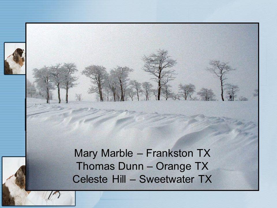 Mary Marble – Frankston TX Thomas Dunn – Orange TX Celeste Hill – Sweetwater TX