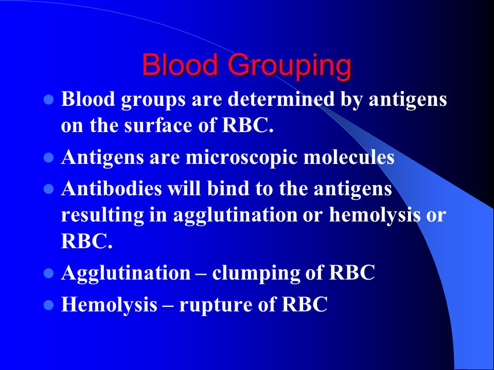 ABO Blood Group Blood is categorized by the ABO Blood group system ABO antigens appear on the surface of RBC