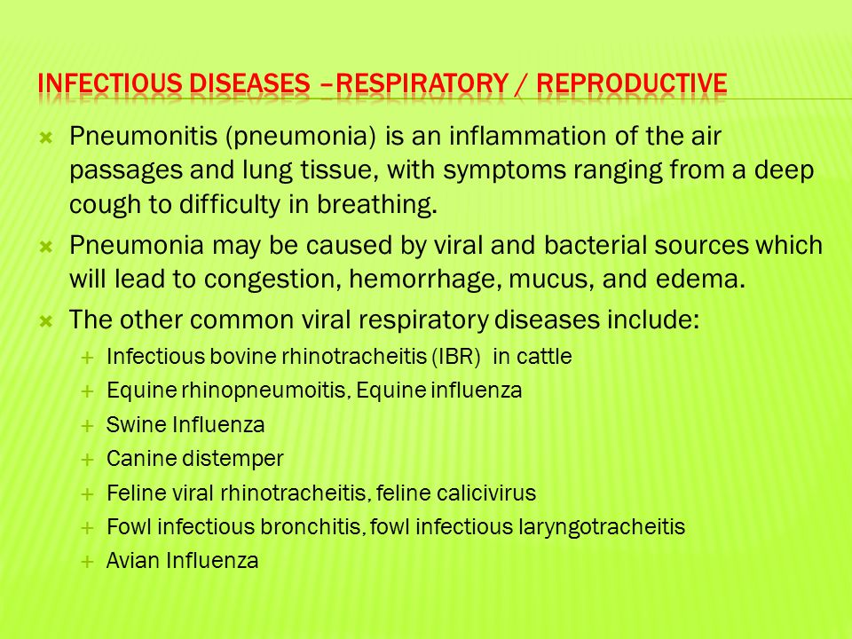  Pneumonitis (pneumonia) is an inflammation of the air passages and lung tissue, with symptoms ranging from a deep cough to difficulty in breathing.