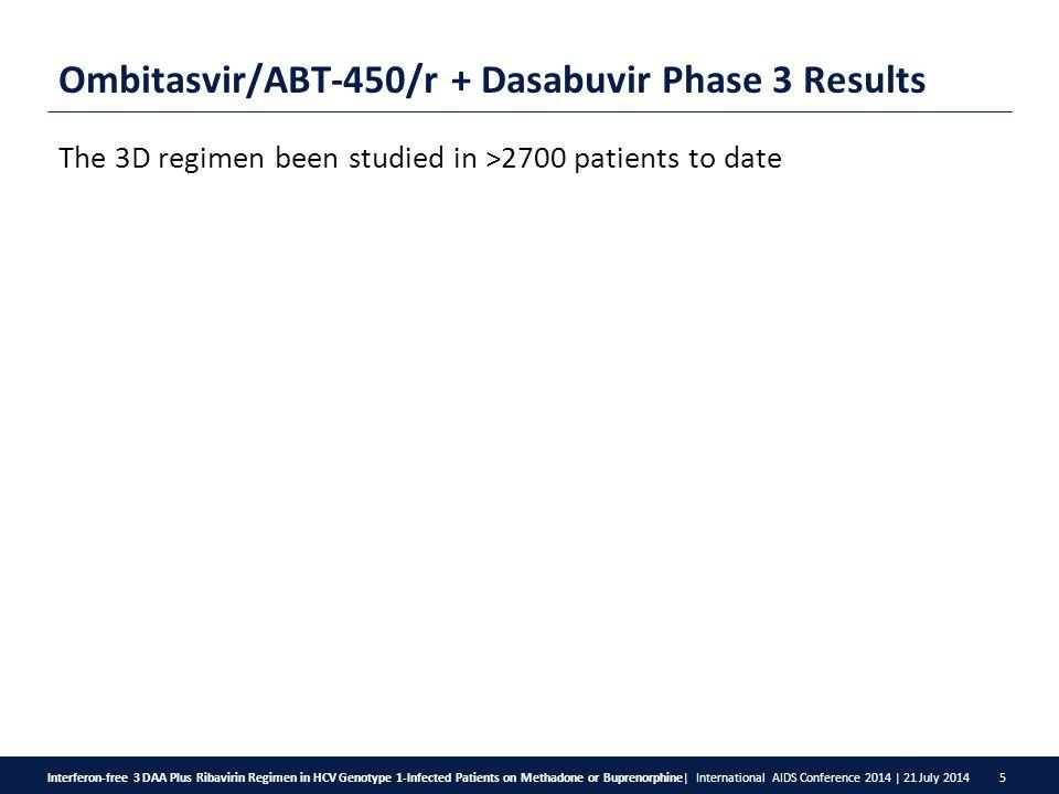 Interferon-free 3 DAA Plus Ribavirin Regimen in HCV Genotype 1-Infected Patients on Methadone or Buprenorphine  International AIDS Conference 2014   21 July 2014 5 Ombitasvir/ABT-450/r + Dasabuvir Phase 3 Results The 3D regimen been studied in >2700 patients to date