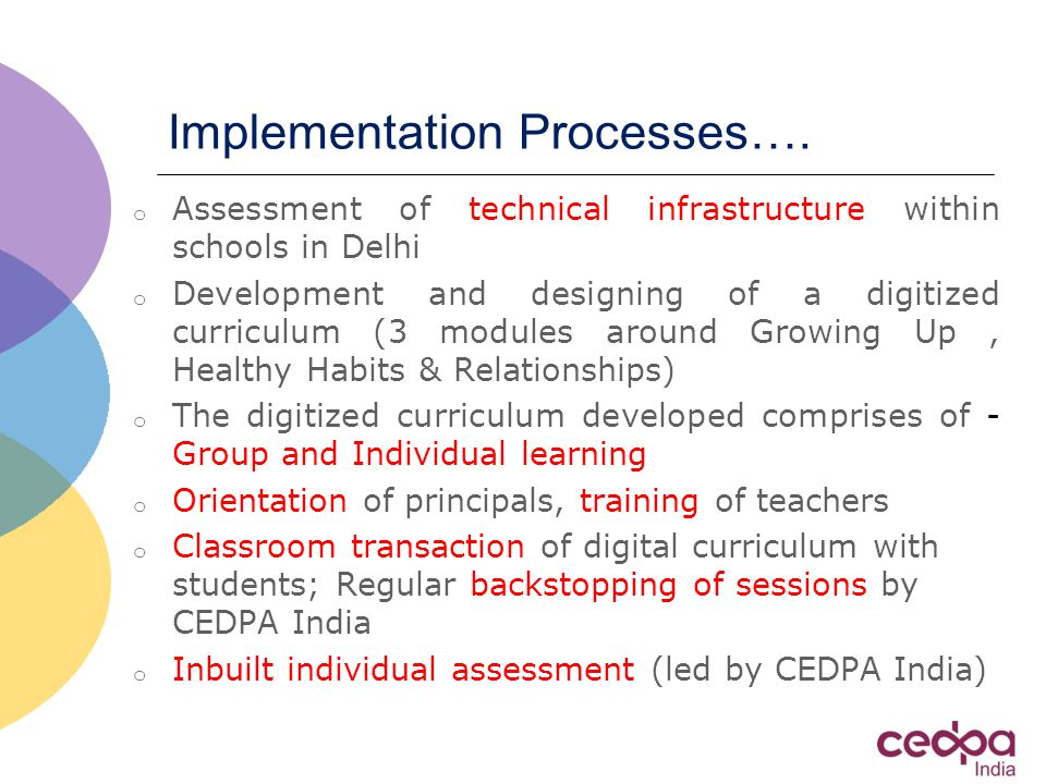Implementation Processes….