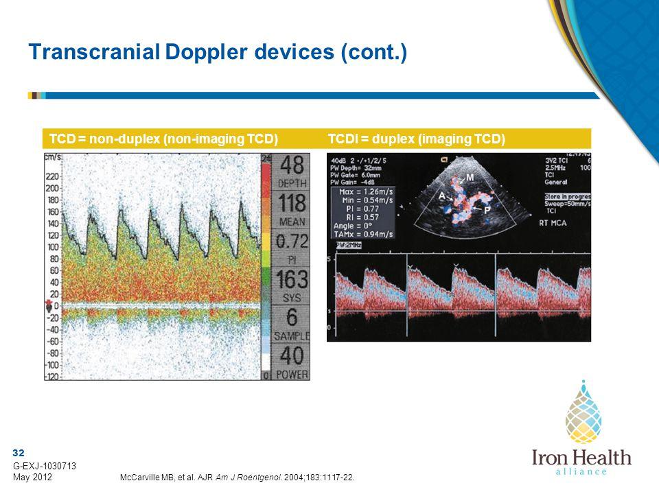32 G-EXJ-1030713 May 2012 Transcranial Doppler devices (cont.) TCD = non-duplex (non-imaging TCD)TCDI = duplex (imaging TCD) McCarville MB, et al.