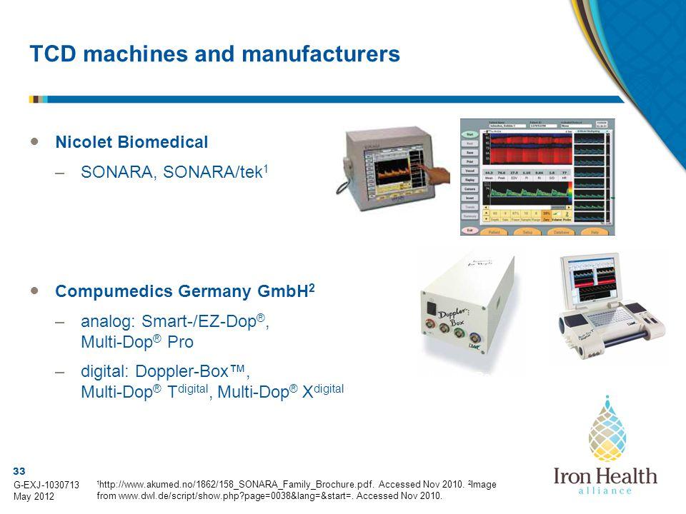 33 G-EXJ-1030713 May 2012 TCD machines and manufacturers ● Nicolet Biomedical –SONARA, SONARA/tek 1 ● Compumedics Germany GmbH 2 –analog: Smart-/EZ-Dop ®, Multi-Dop ® Pro –digital: Doppler-Box™, Multi-Dop ® T digital, Multi-Dop ® X digital 1 http://www.akumed.no/1862/158_SONARA_Family_Brochure.pdf.