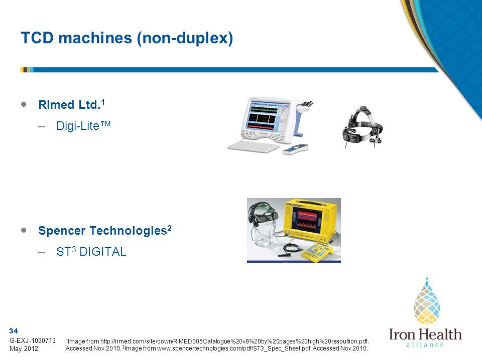 34 G-EXJ-1030713 May 2012 TCD machines (non-duplex) ● Rimed Ltd.