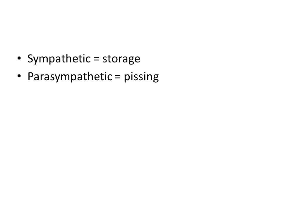 Sympathetic = storage Parasympathetic = pissing