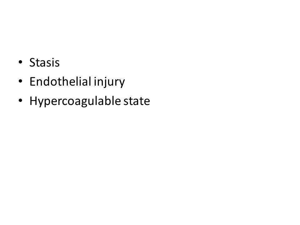 Stasis Endothelial injury Hypercoagulable state