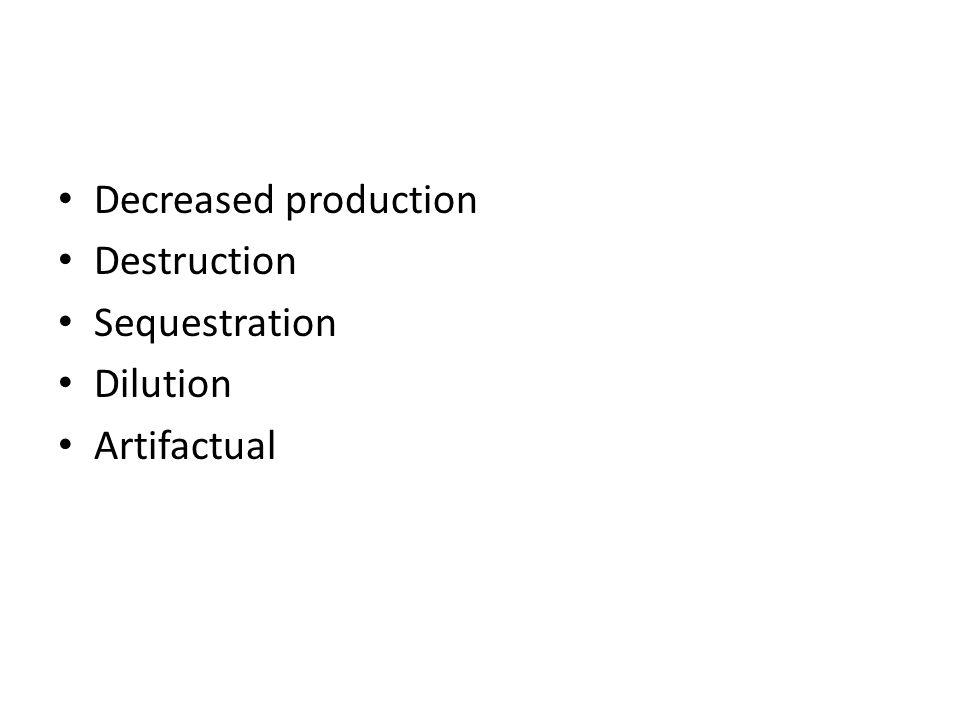 Decreased production Destruction Sequestration Dilution Artifactual