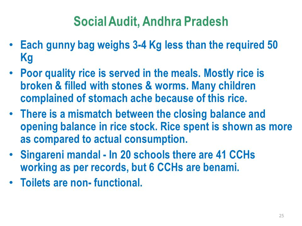 Social Audit, Andhra Pradesh Each gunny bag weighs 3-4 Kg less than the required 50 Kg Poor quality rice is served in the meals.