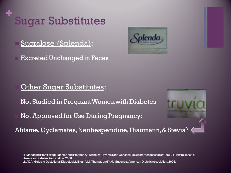 + Sugar Substitutes Sucralose (Splenda): Excreted Unchanged in Feces Other Sugar Substitutes: Not Studied in Pregnant Women with Diabetes Not Approved