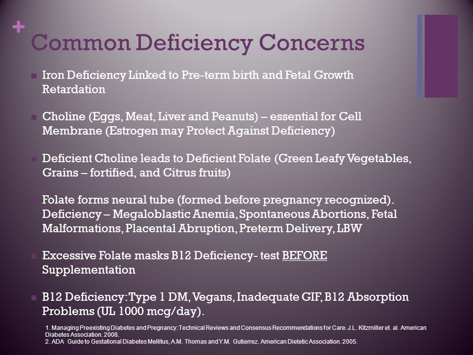 + Common Deficiency Concerns Iron Deficiency Linked to Pre-term birth and Fetal Growth Retardation Choline (Eggs, Meat, Liver and Peanuts) – essential