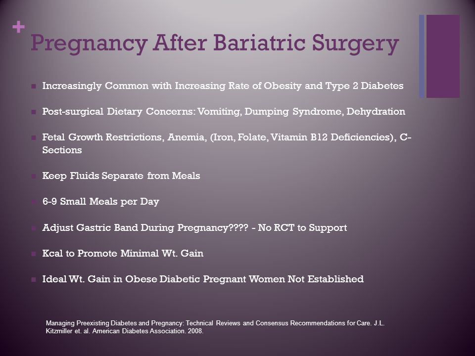 + Pregnancy After Bariatric Surgery Increasingly Common with Increasing Rate of Obesity and Type 2 Diabetes Post-surgical Dietary Concerns: Vomiting,