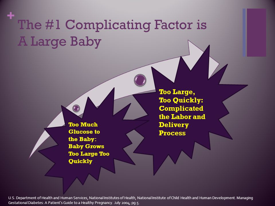 + The #1 Complicating Factor is A Large Baby Too Large, Too Quickly: Complicated the Labor and Delivery Process Too Much Glucose to the Baby: Baby Gro