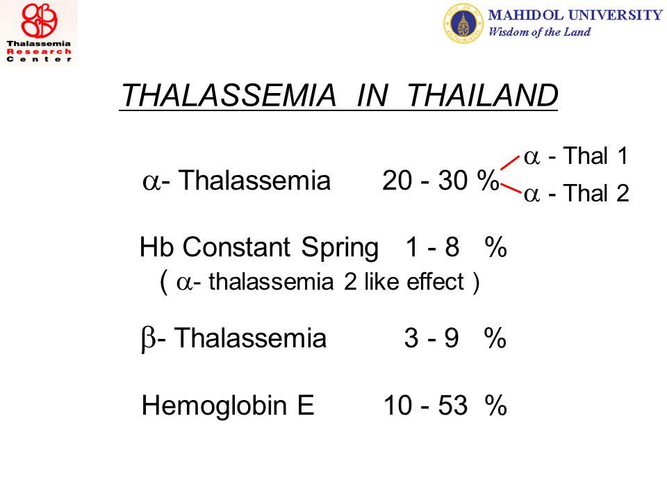 THALASSEMIA IN THAILAND   - Thalassemia 20 - 30 % Hb Constant Spring 1 - 8 % (  - thalassemia 2 like effect )    - Thalassemia 3 - 9 % Hemoglobin E 10 - 53 %  - Thal 1  - Thal 2